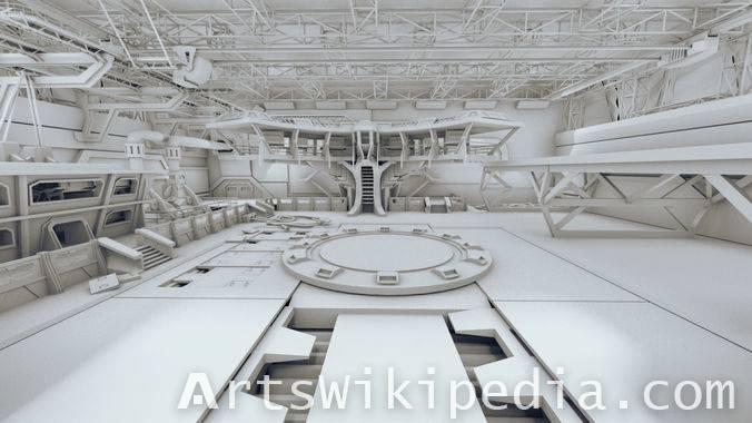 Free untextured 3d Sci Fi scene