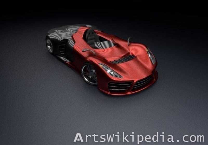 free 3d red car concept