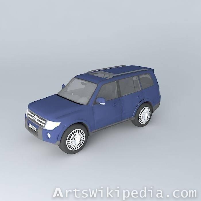 free 3d blue Mitsubishi pajero 3.6