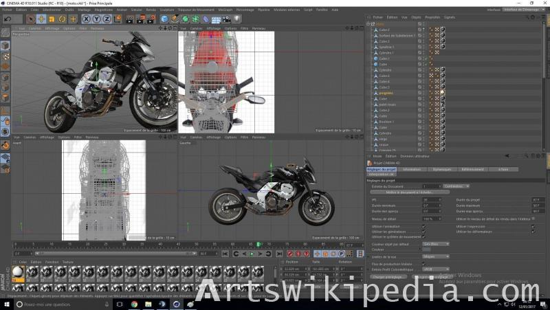 free 3d motorcycle black and white c4d