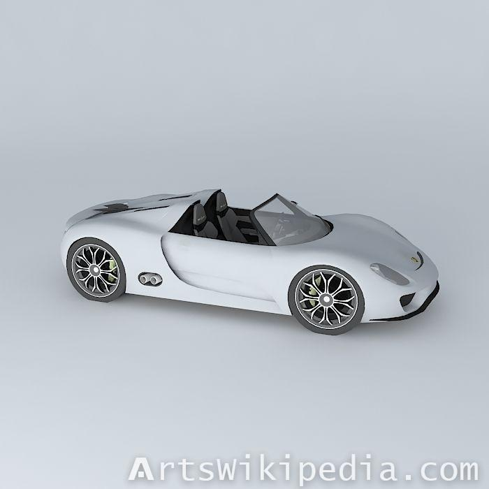 free 3d white Porsche 918 2010