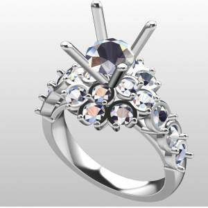 free modern silver ring rhino