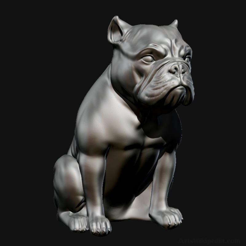 Short Bulldog sculpture