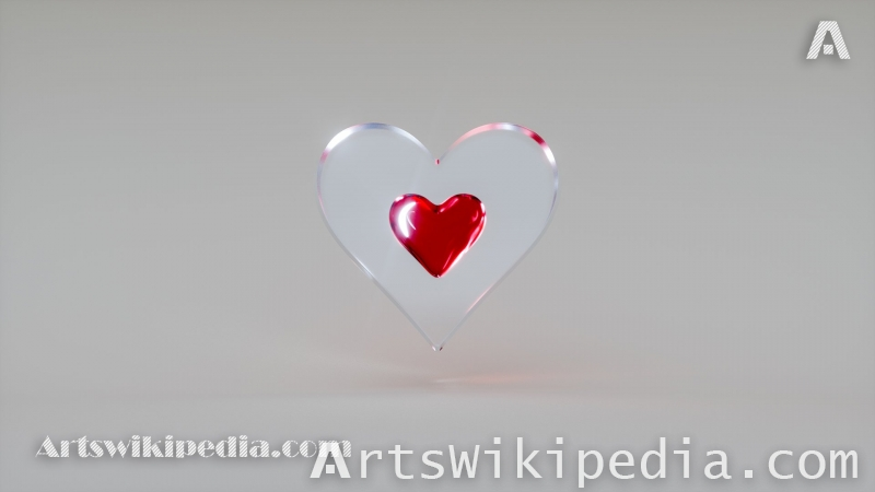 3d heart inside glass
