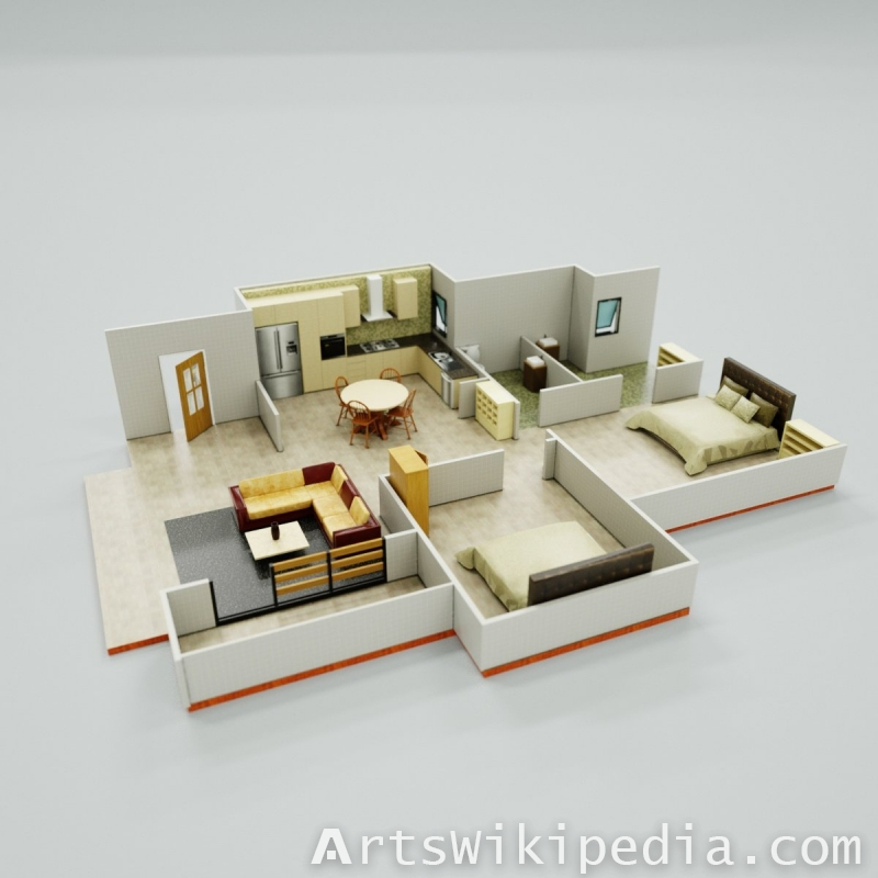 3d interior layout, texture backed