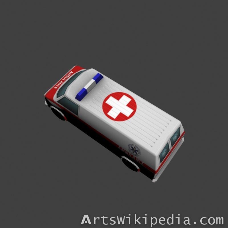 low polygons Ambulance 3d model