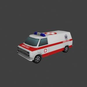 low polygons Ambulance 3d model