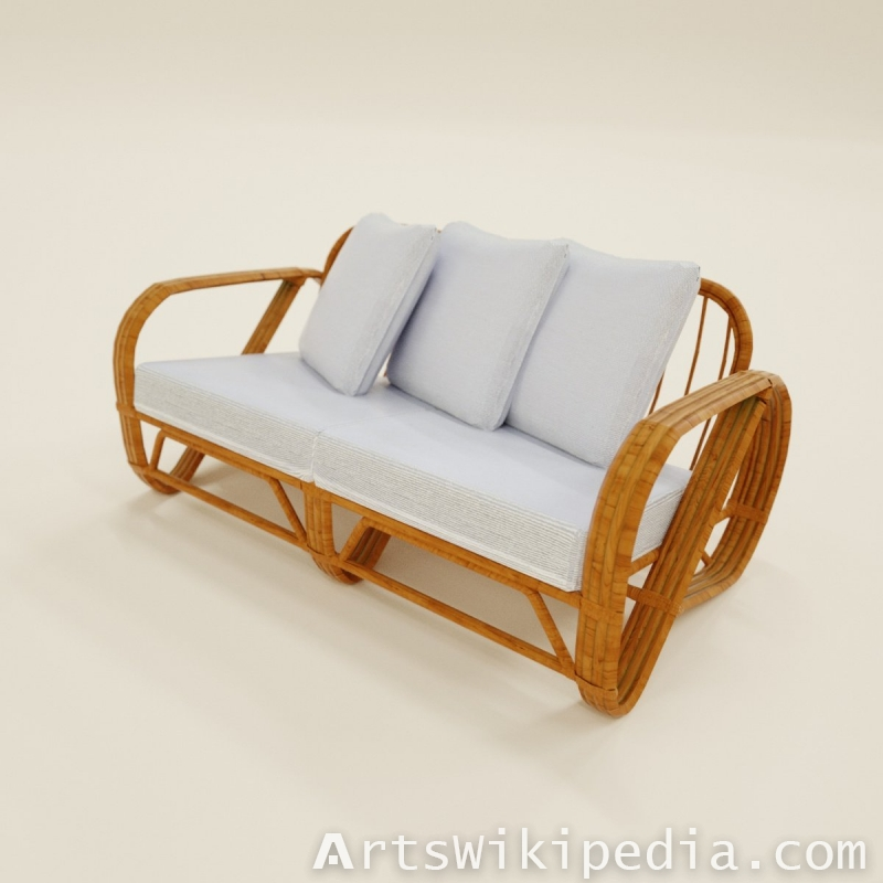Two Seater Sofa White On Wood