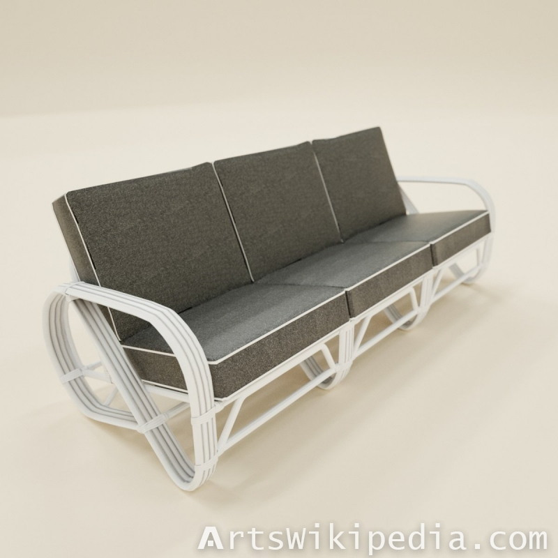 Three seater sofa gray on white