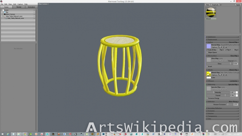 3d yellow side table