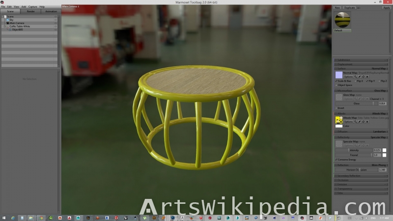 3d yellow bongo coffee table