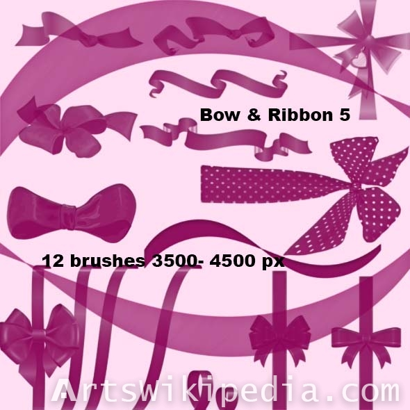 collection of bow and ribbon photoshop brushes
