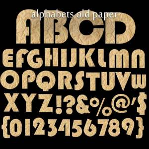 Alphabets and number old paper clipart