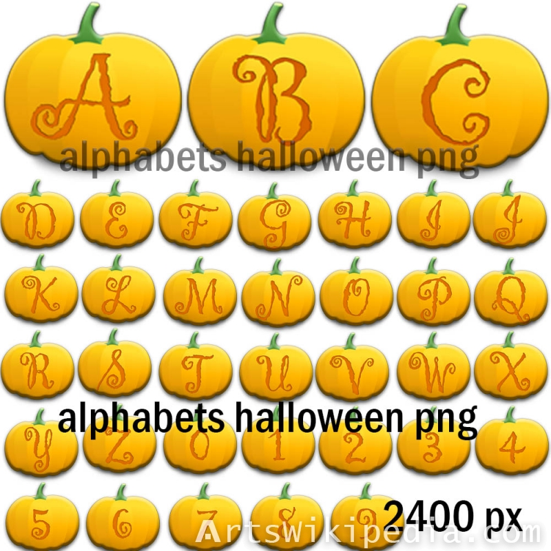 halloween alphabets characters png