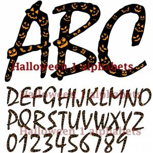 halloween alphabets numbers clipart