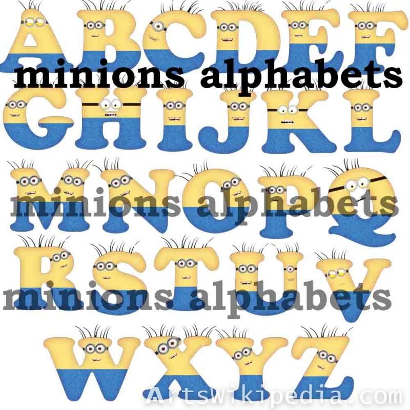 minions alphabets clipart