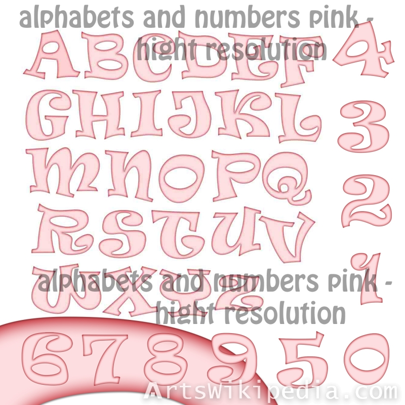 pink alphabets characters and numbers