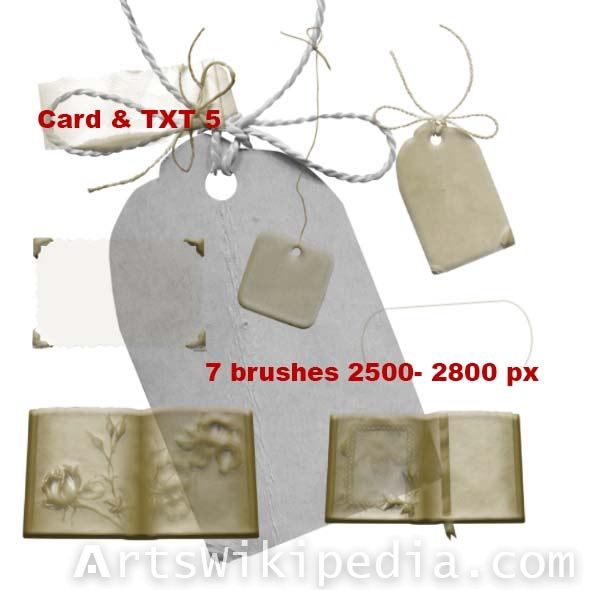 card and book with flower brushes