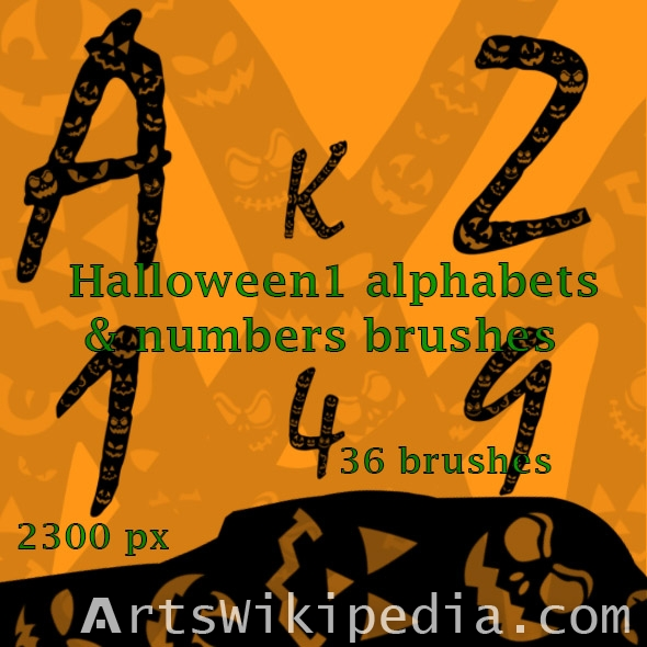 halloween alphabets brushes