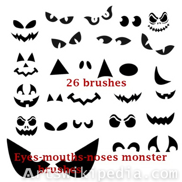 Halloween face parts brushes