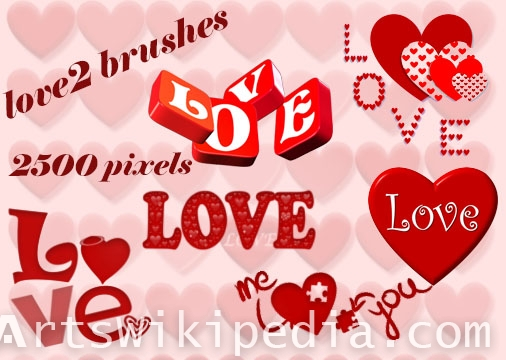 collection of love words 2500 px brushes