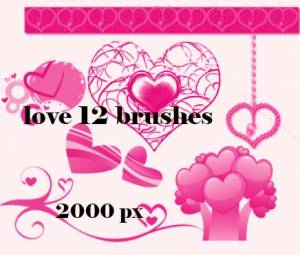 love and hearts photoshop brushes