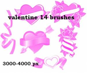 Brush hearts for valentine