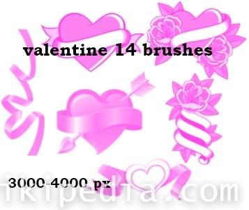 Brush hearts for valentine
