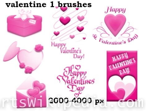 happy valentine day  cards brushes
