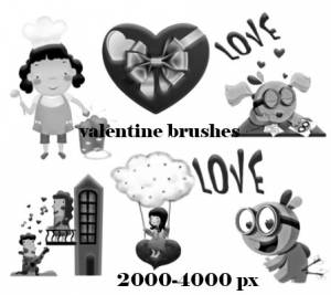 valentine cartoon high quality brushes