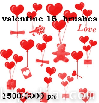 valentine red hearts and gifts brushes
