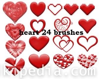 different shapes of heart photoshop brushes