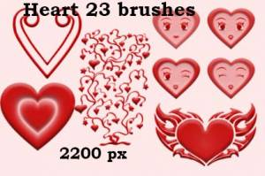 hearts 2200 px photoshop brushes