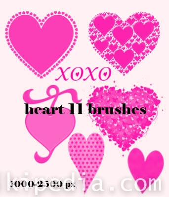 hearts and XOXO photoshop brushes