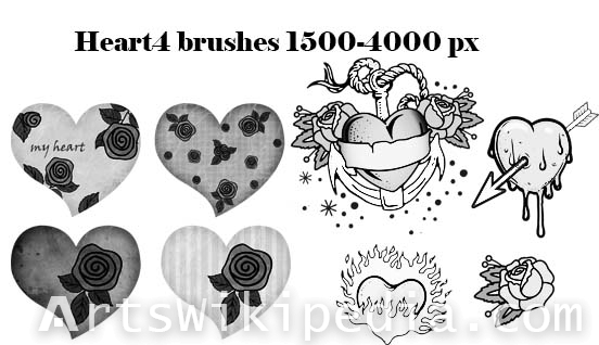 hearts and flowers photoshop brushes