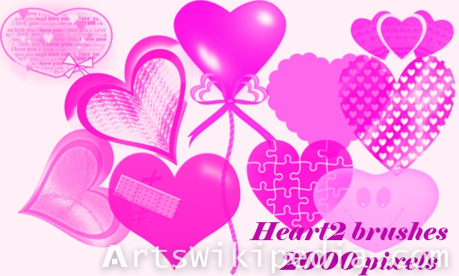 hearts and love word photoshop brushes
