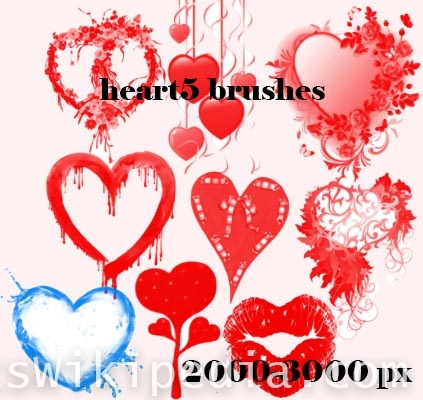hearts and rose photoshop brushes