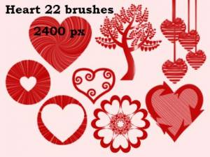 hearts and tree photoshop brushes