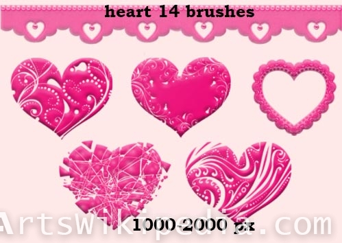 pink hearts photoshop brushes