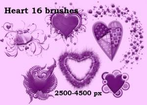 purple hearts photoshop brushes