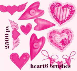 free hearts photoshop brushes