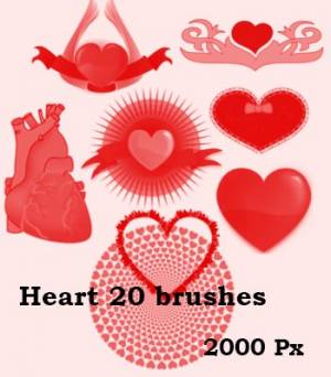 free valantain heart photoshop brushes