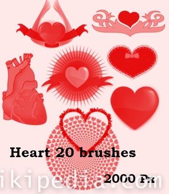 free valantain heart photoshop brushes