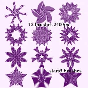 3D stars photoshop brushed