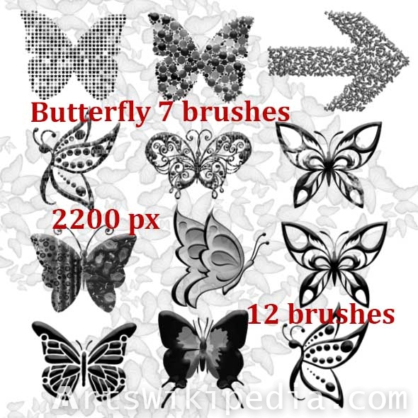 butterflies arts photoshop brushes