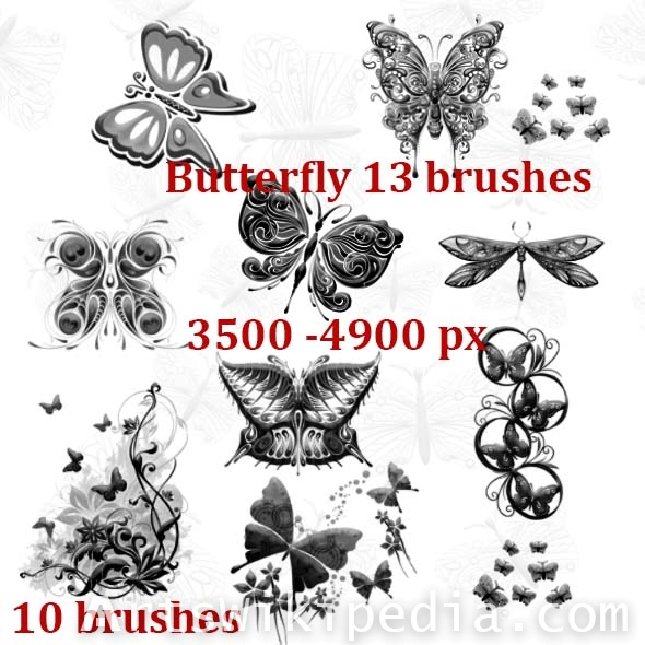 butterflies decoration high resolotion brushes