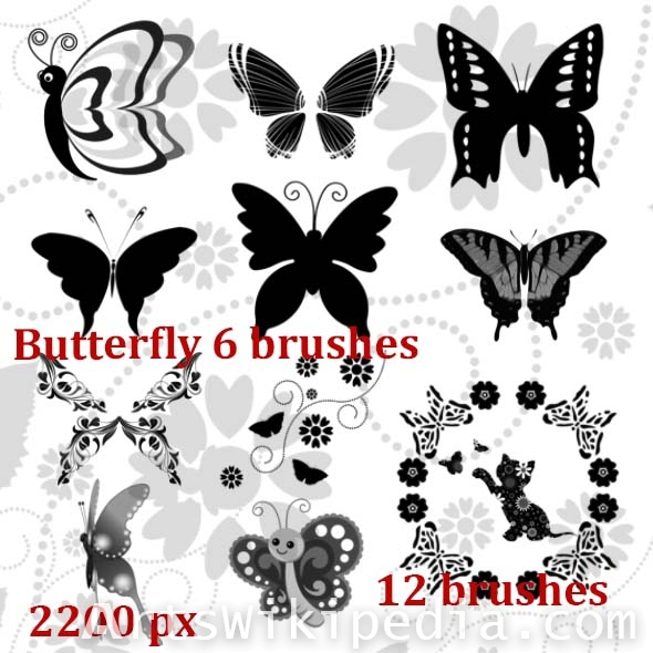butterfly and flowers photoshop  brushes