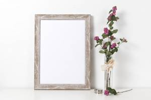 photo frame next to pink floral plant