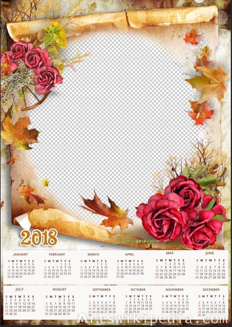free 2018 Calendar PSD template