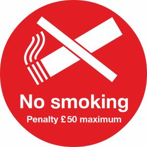 No Smoking penalty sign